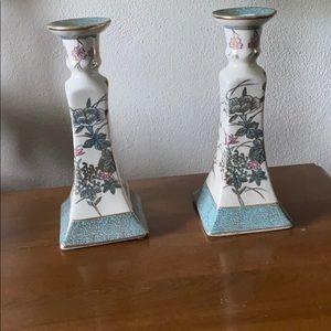Ethan Allen porc candlesticks 8.5 in vintage pair